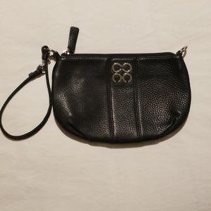 COACH Kristen Black Leather Wristlet Handbag